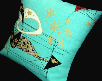 "Mid Century Modern Pillow Cover LUMBAR SIZES ONLY - Aqua Atomic - Premium Reproduction Barkcloth - for use with 18"" x 18"" inch insert"