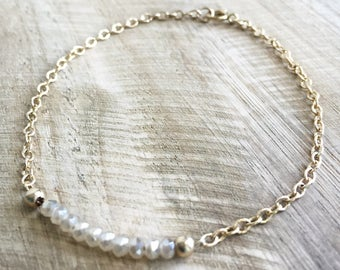 layering bracelet - gold fill - champagne beads // dainty, minimalist, simple