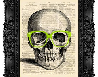 Hipster Skull Wearing LIME Nerd Glasses - ORIGINAL ARTWORK - Dictionary Art Print Vintage Upcycled Antique Book Page no. 192