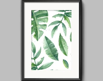 Botanical, tropical leaves Home Print, Scandinavian Wall art, A4 8x10inch or A5, Quality PaperA3