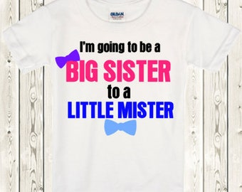 Big sister gender reveal shirt gender reveal boy Big sister pregnancy announcement shirt Big sister gender reveal shirt Gender reveal idea