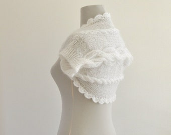 White Shrug Bolero Bridal Shrug Mohair Chic Romantic Dreamy Soft Delicate