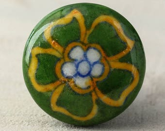 Green and Yellow Flower Ceramic Cabinet Knob