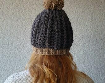 Gray beanie womens, Winter beanie with pom pom, Crochet beanie for her, Womens winter beanie, Gift for her, wool winter hat gray,crochet hat
