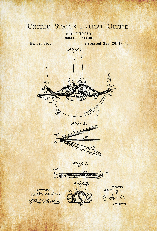 surgical instrument patent 1902 doctor office decor. Mustache Curler Patent 1894 Print Bathroom Decor Surgical Instrument 1902 Doctor Office
