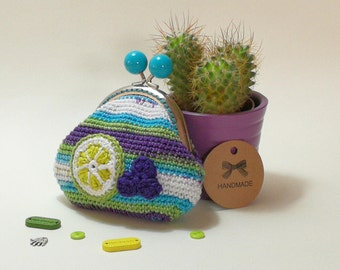 Berries and Lime Crochet Coin Purse