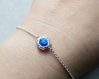 925 Sterling silver star chain bracelet, Star charm, Opal Bead, 925 Sterling Silver chain bracelet for BFF, gift for her,Mom,daughter,sister