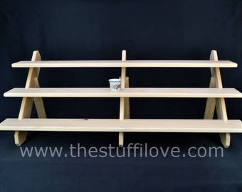 3 Tier Standard Extra Wide Collapsible display shelves for craft and trade shows or shops.
