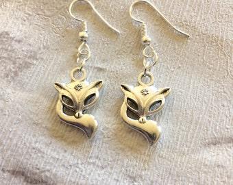Silver Fox Earrings, Fox Earrings, Animal Earrings, Fox Charms, Fox Jewellery, Fox Gifts, Woodland Jewellery, Silver Fox.
