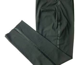 Vintage 1960s Tuxedo Pants. Satin Stripe. Metal Zipper. Flat Front. Tapered Leg Unhemmed. Waist 38.