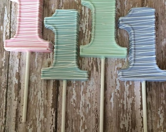 12 Pastel Stripe Number One Chocolate Lollipops Birthday 1st 1 Sweets Table Party Favors
