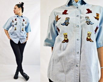 VTG-90s, Vintage, 1990s, Button Up, Pale Denim, Soft, Western Style, Cowboy Denim Shirt w/ Embroidered Boots, Stone Washed Chambray - Size M