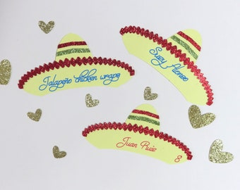 Sombrero Place Cards, Mexican Fiesta Place Cards, Cinco de Mayo Place Cards, Fiesta Food Labels, Sombrero Party, Mexican Fiesta Seating