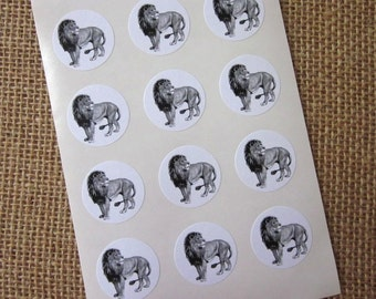 Lion Stickers One Inch Round Seals