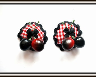 Burlesque Style Pasties in Red & White Check Topped with Double Cherries and Bow