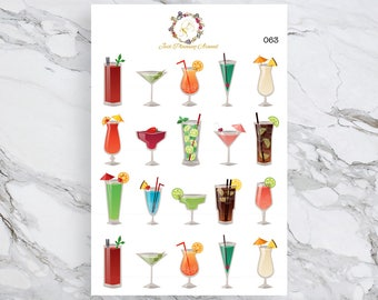 Cocktail Stickers, Happy Hour Stickers, Drink Stickers, for use with  Erin Condren, Happy Planner