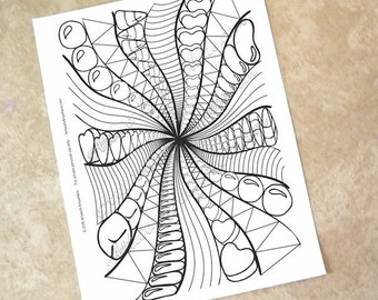 Sweet Jelly Beans and Candy - Adult coloring page printable download from Candy Kaleidoscope Artwork Anywhere ~hand drawn candies~