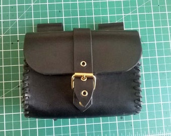 3mm leather pouch, brass rivets and buckle