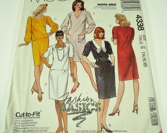 Easy McCall's Misses  Dress Pattern 4338 Size 12, 14, 16 Cut To Fit, Petite-Able, Fashion Basics