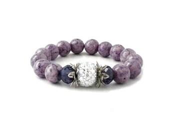 Purple Jasper Gemstone Stretch Bracelet