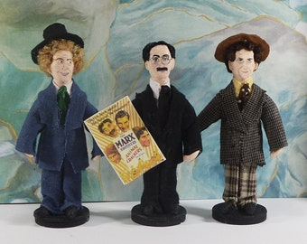 Marx Brothers Collectible Figurine Celebrity Art Old Hollywood Comedy Chico Harpo Groucho