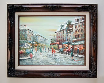 Original Oil Painting French Market Street Scene Signed and Framed Artistic Impressions Inc Certified