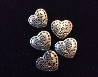 Silver Metal Heart Shaped Buttons