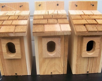 3 bluebird houses nest with cedar shake roof and peterson oval entrance handmade by Cedarnest free shipping