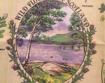 Vintage dish towel Kitchen towel Linen dish towel Wild flowers of Scotland towel