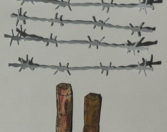 Barbed Wire and Poste Die Cuts