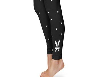 Gifts for Pisces Leggings, Zodiac Birthday Leggings, Star Sign Yoga Pants