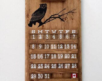 Owl Calendar, wooden calendar, perpetual calendar, owl design, wooden sign, housewarming gift, wedding gift