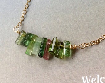 Watermelon Tourmaline Necklace, Green Tourmaline Neckalce, Genuine Tourmaline Crystal, PinkTourmaline, Gold Filled, Sterling Silver