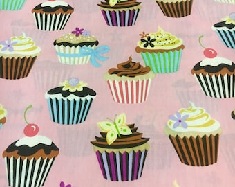 Robert Kaufman Sweet Tooth. Cupcakes on pink. Sold by the half yard.