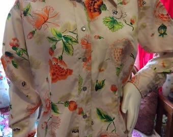 Vintage 70's Floral Women's Western Wear Shirt