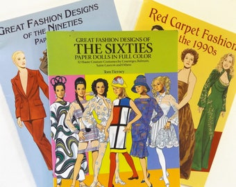 Great Fashion Designs of THE SIXTIES: Paper Dolls in Full Color by Tom Tierney, 1991 Plus Two FREE
