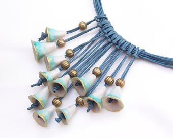 Ethnic necklace, model unique, handmade turquoise bells, hand molded of cold porcelain