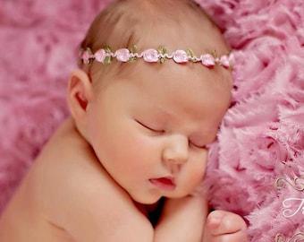 Pink Baby Headband - Baby Halo - Dainty Baby Headband - Tiny Newborn Headband - Pink Newborn Headband