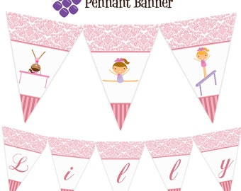 Gymnastic Pennant Banner - Pastel Pink Damask Girl Gymnast Personalized Birthday Party Banner - A Digital Printable File