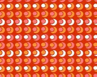Cherry Red Circle, Circle, Dot, Dot fabric from the Mimosa Collection by Another Point of View for Windham Fabrics #39983-1