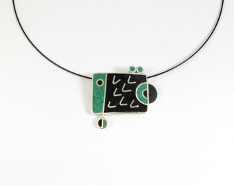 Sterling Silver Pendant, Geometric Fish, Black, Green, Modern, Contemporary, Colorful, Necklace
