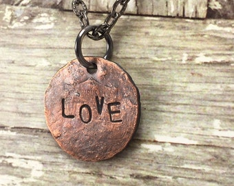 LOVE Penny Charm Necklace, Good Luck Penny, Word Necklace, Coin Inspirational Necklace, Word Jewelry, Gift Idea for Friend, Graduate Gift