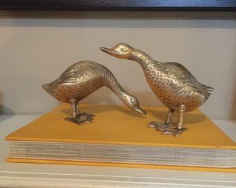 Set of Vintage Brass Geese