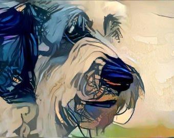 ACEO ATC George Shaggy Sheep Dog OES blue art card