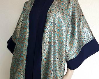 Spring kimono / jacket kimono jaquard Sofya FDX unique handmade Peacock print