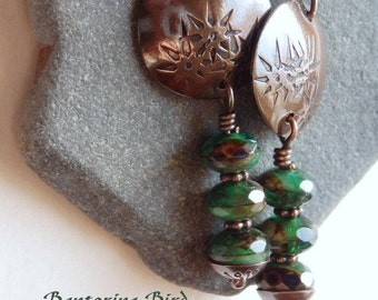 Kelly Green Copper Dangle Earrings, Czech Glass Bead Stack, Cascading Stars, Celtic Gift for St Patrick's Day, Irish Jewelry