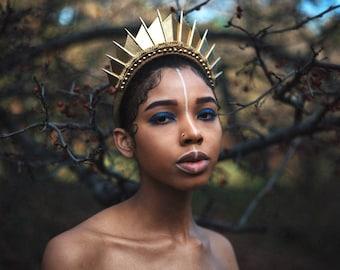 Golden Blade Hand Sewn Crown - Headpiece - by Loschy Designs