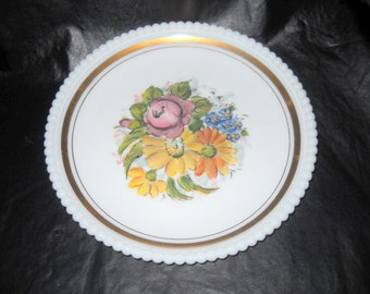 Plate, Hand Painted Westmoreland Plate with Beaded Edge, Gold Gilt, 1950's