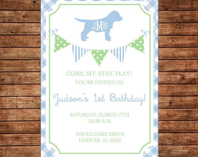 Boy or Girl Invitation Gingham Monogram Puppy Bunting Birthday Party - Can personalize colors /wording - Printable File or Printed Cards