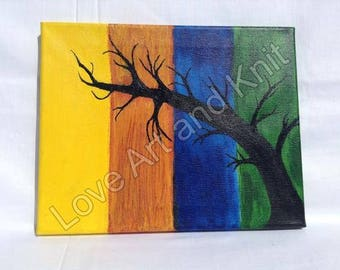 canvas acrylic painting tree, size 24 x 30 cm, original painting, acrylic painting, nursery,  tree, art, home, decor, nursery